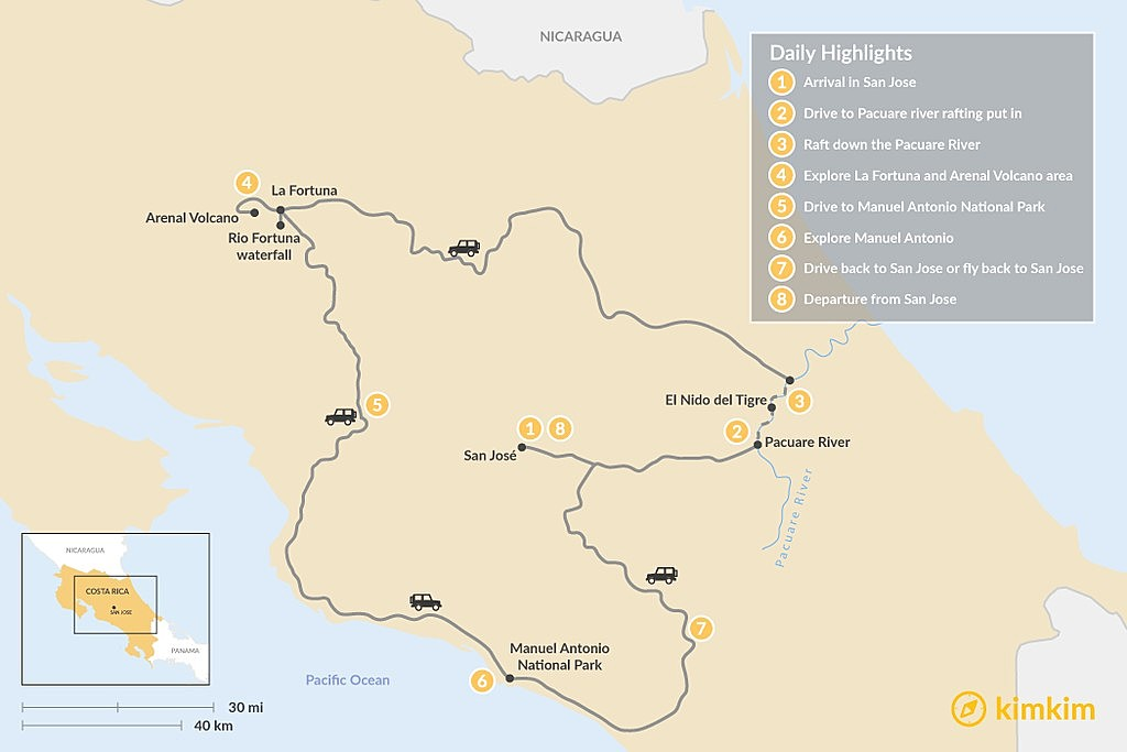 Map of Costa Rica Adventure: Whitewater, Jungles & Beaches - 8 Days