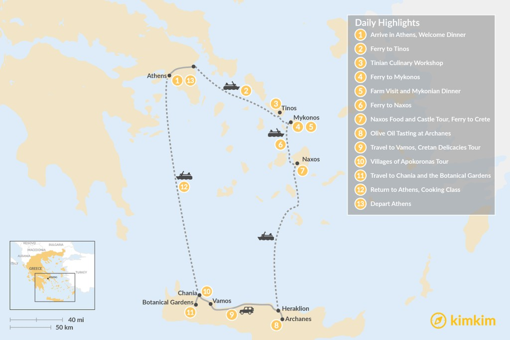 Map of Cyclades & Crete Culinary History Tour - 13 Days