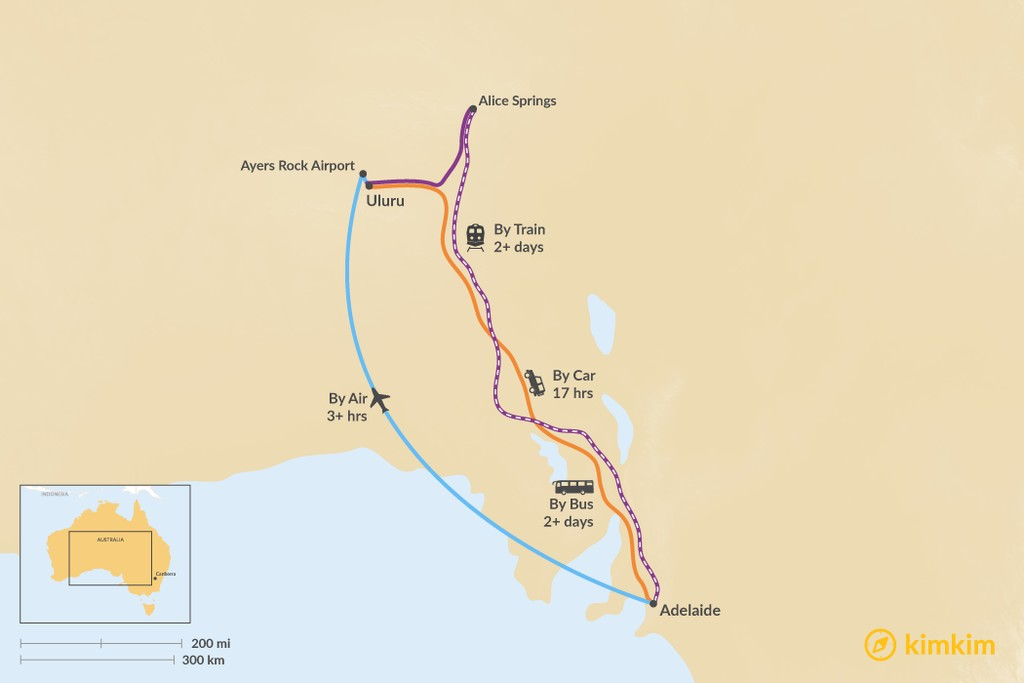 Map of How to Get from Adelaide to Uluru