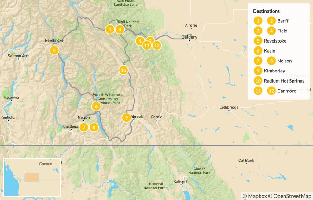 Map of Kootenay Rockies: Hot Springs Circle Route - 13 Days