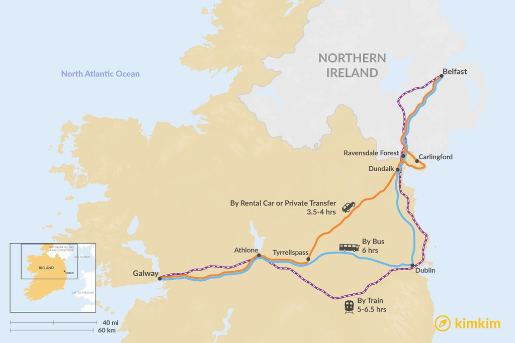 Map of How to Get from Galway to Belfast
