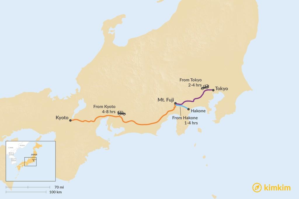 Map of How to Get to Mt. Fuji