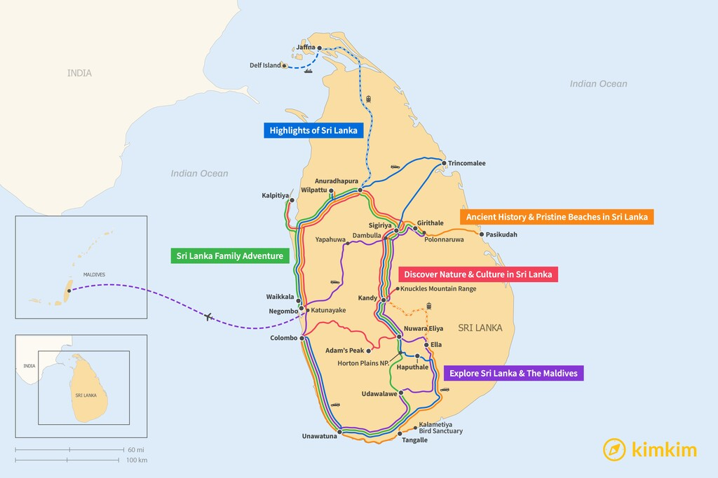 Map of 14 Days in Sri Lanka - 5 Unique Itineraries