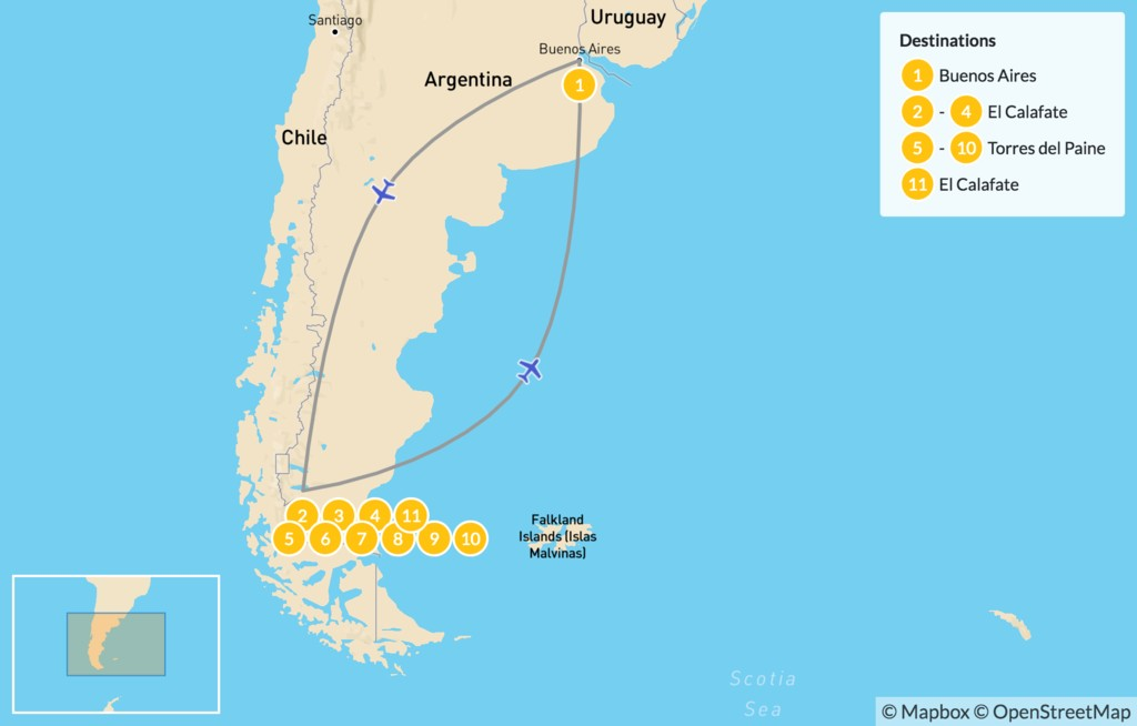 Map of Trekking in Chilean & Argentine Patagonia - 12 Days