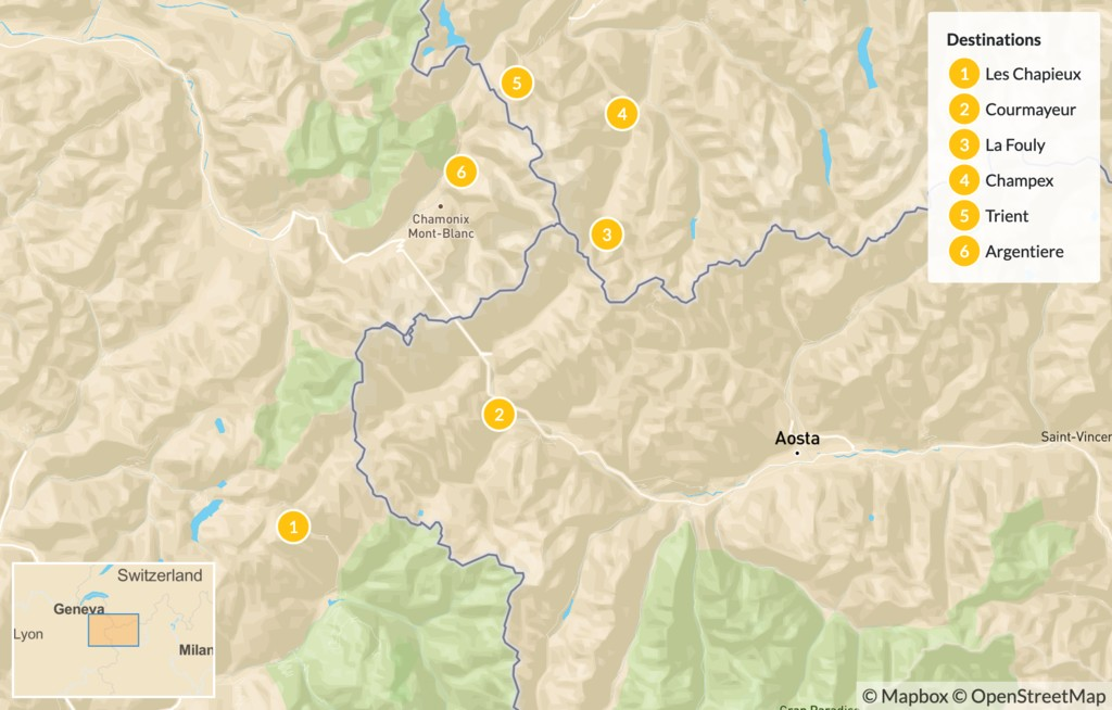 Map of Tour du Mont Blanc Self-Guided Trek - 11 days