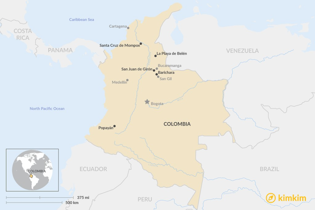 Map of 5 Off-The-Beaten-Path Colonial Cities in Colombia