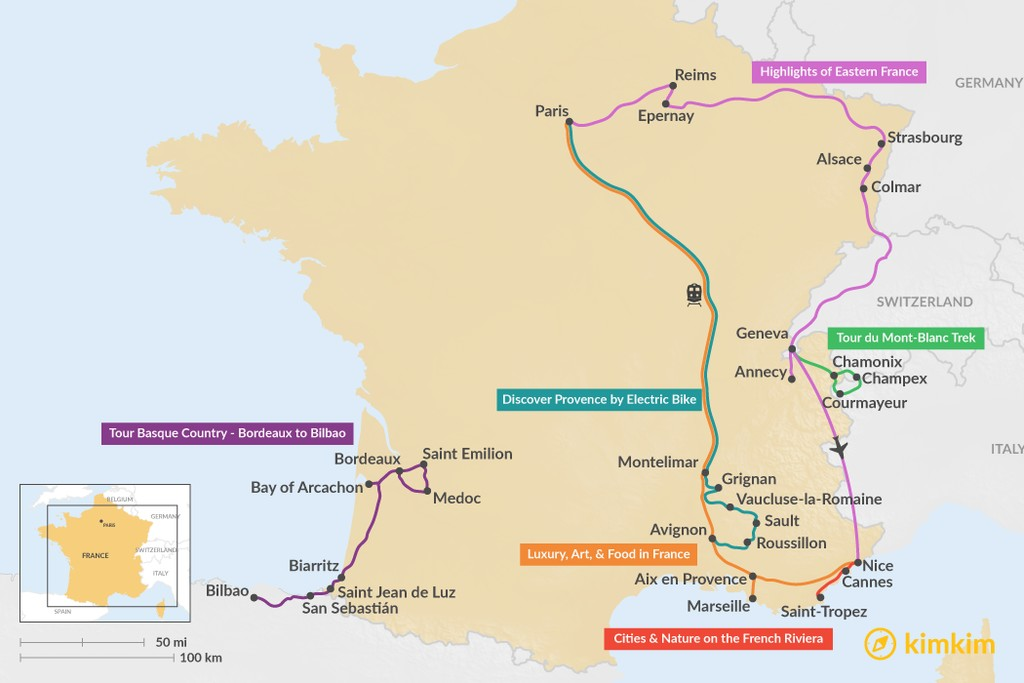 Map of 11 Days in France - 7 Unique Itinerary Ideas