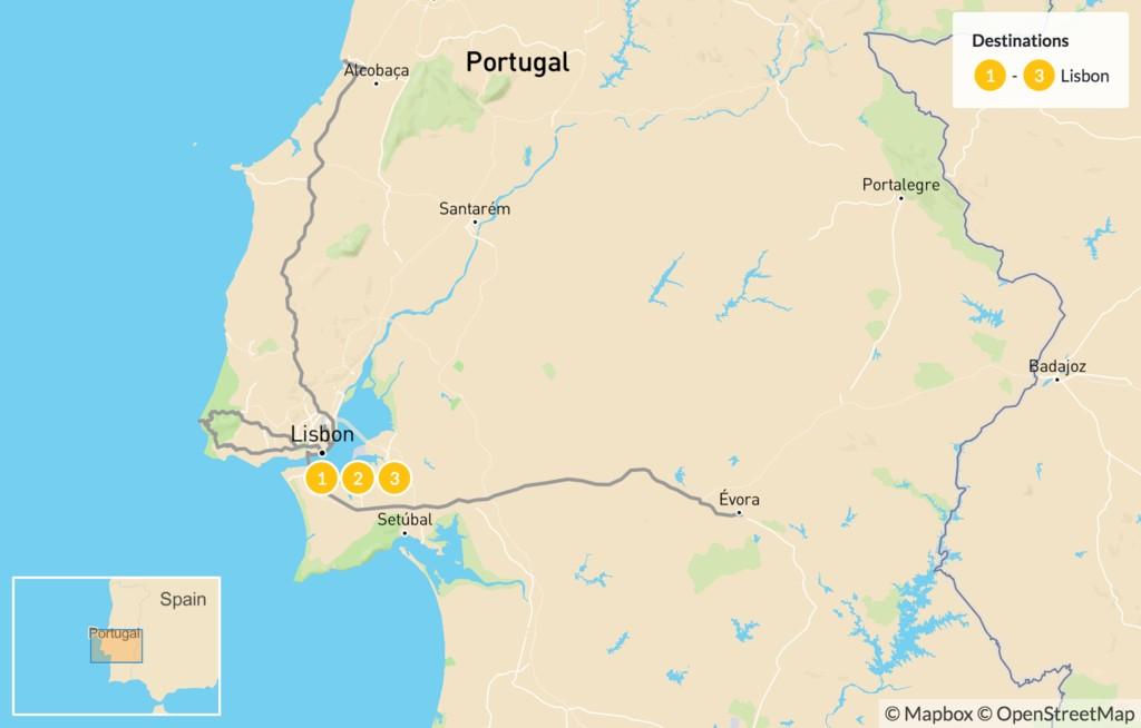 Map of Magic of Portugal:  Lisbon, Sintra, Évora - 4 Days