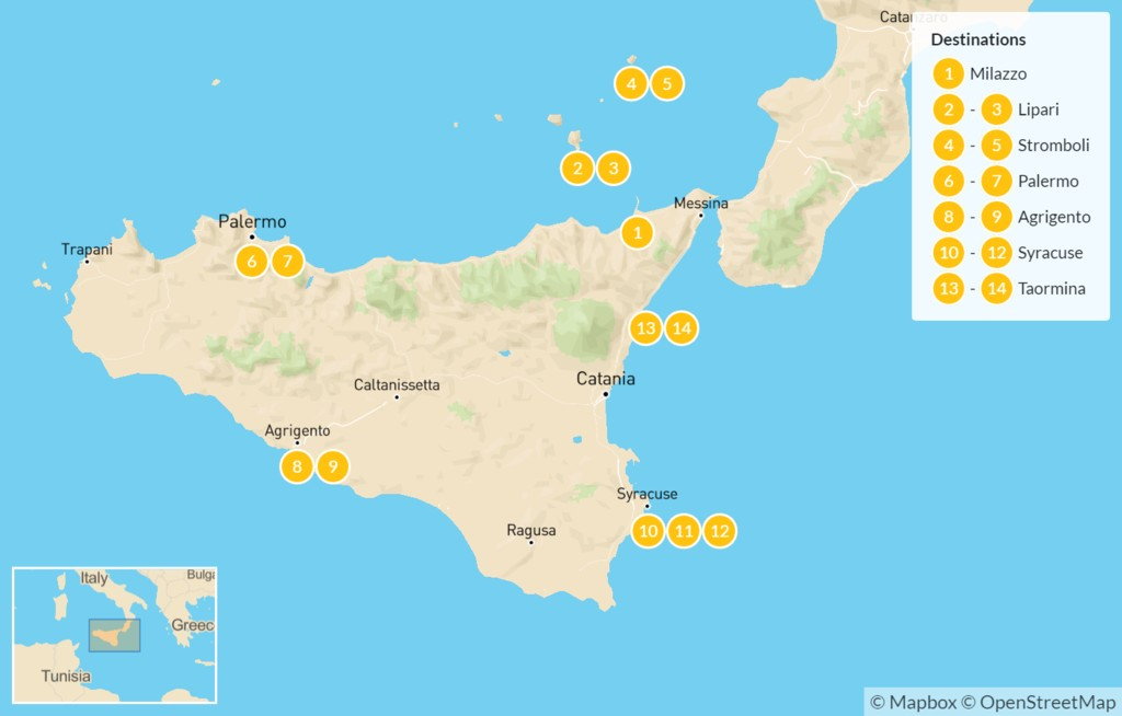 Map of Sicily Highlights Self-Drive Tour with Aeolian Islands - 15 Days