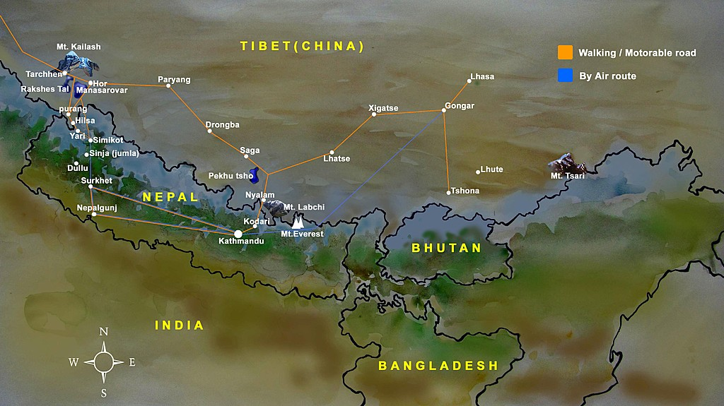 Map of Trekking Nepal & Tibet: Mt. Kailash Kora - 21 Days