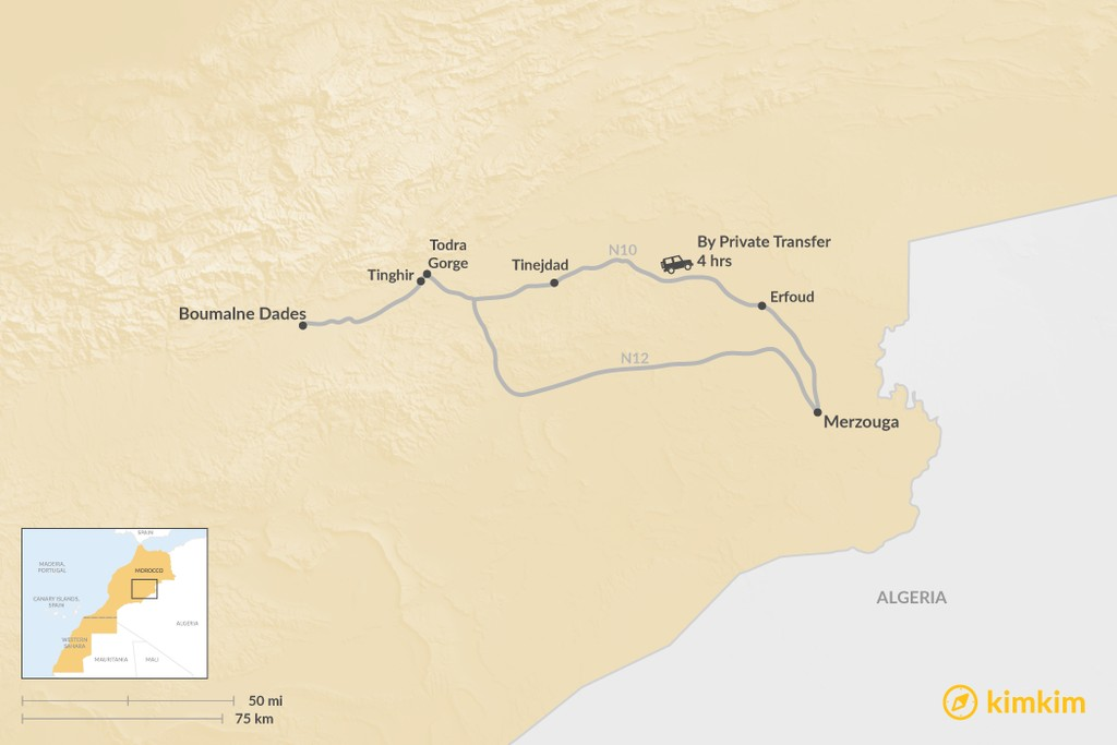 Map of How to Get from Boumalne Dades to Merzouga