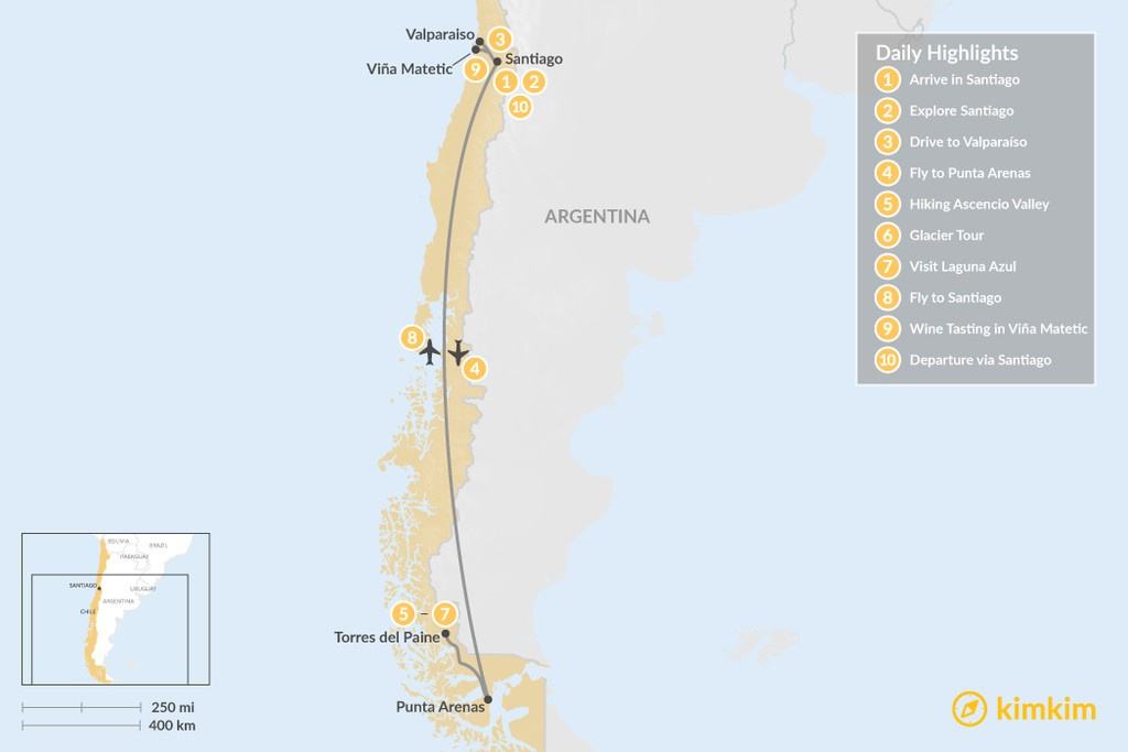 Map of Honeymoon in Santiago & Torres del Paine - 10 Days
