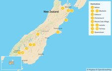 Map thumbnail of South Island Highlights & New Zealand Wines - 12 Days