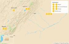 Map thumbnail of Páramo, Plains & Colonial Villages in Colombia - 9 Days