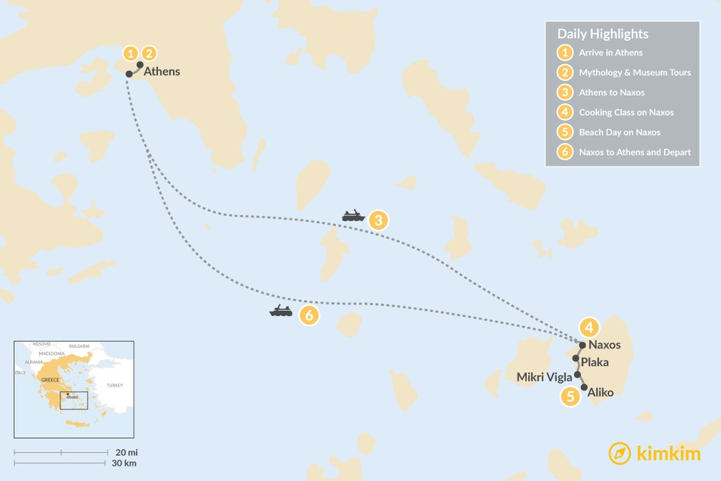 Map of Delightful Athens & Naxos - 6 Days