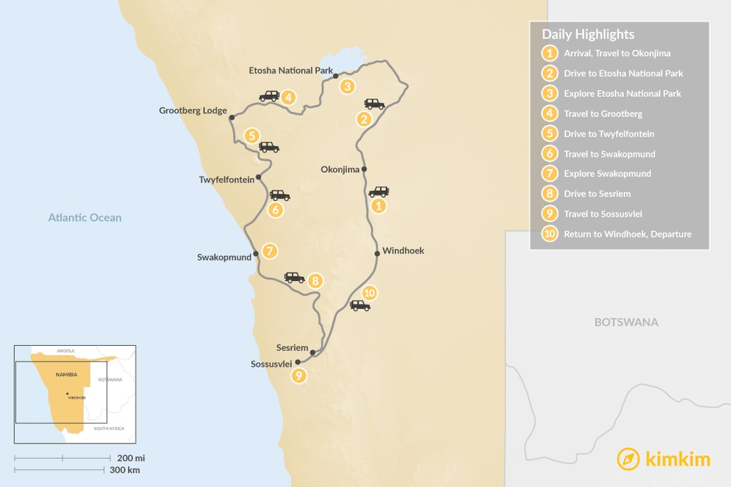 Map of Highlights of Namibia - 10 Days