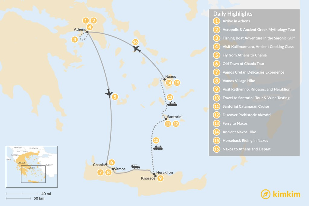 Map of Authentic Greek Adventure: Athens to the Cyclades - 16 Days