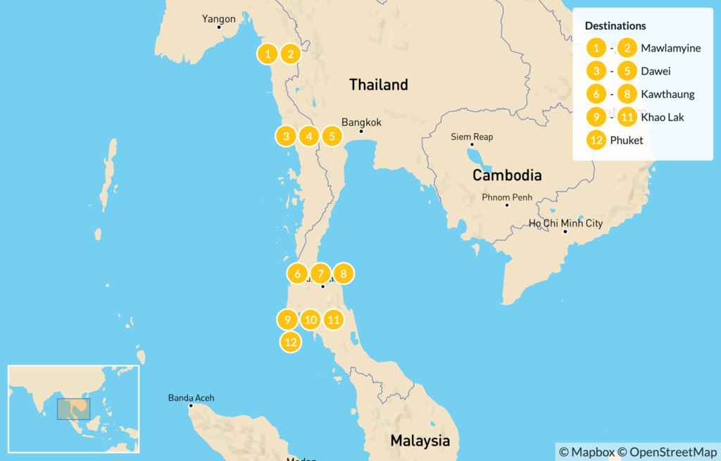 Map of Explore Southern Myanmar and the Beaches of Thailand - 12 Days