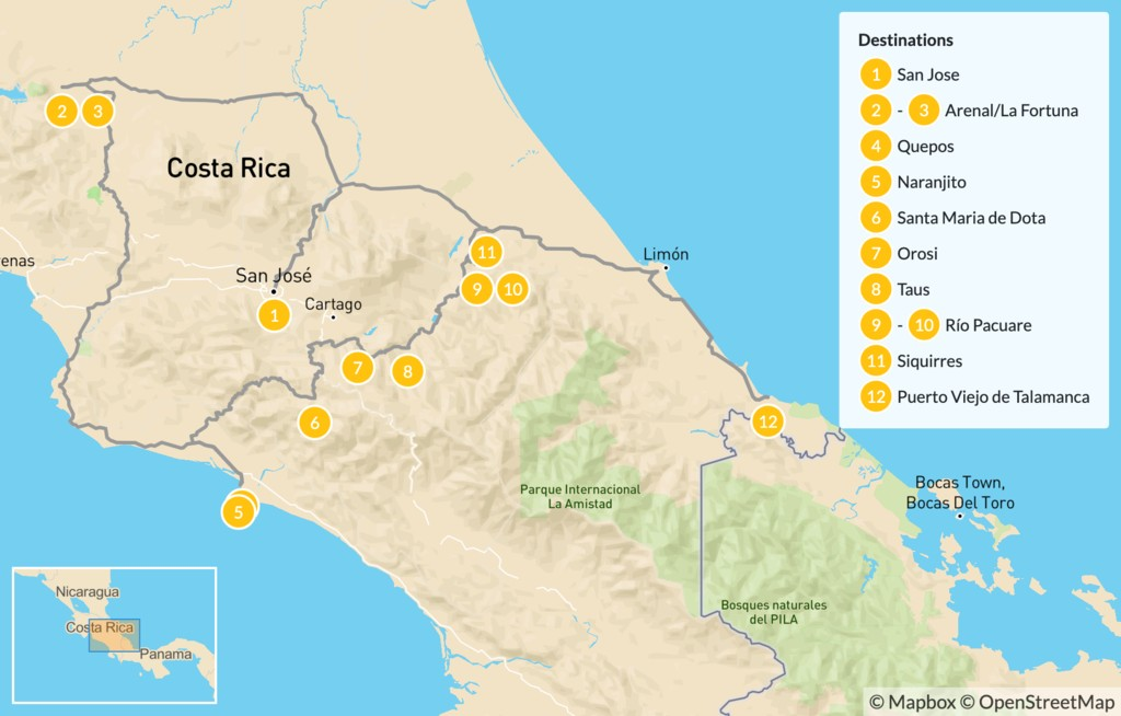 Map of Costa Rica Cycling, Rafting, & Kayaking - 13 Days
