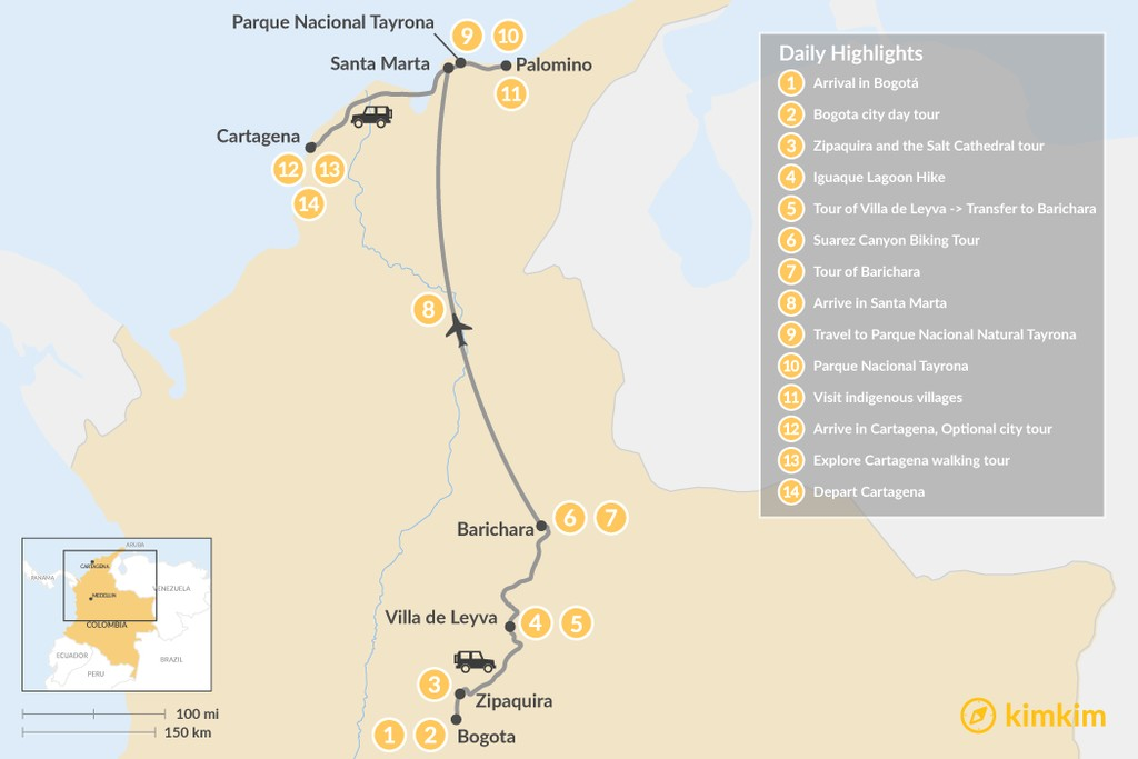 Map of Colombia's Quintessential Highlights - 14 Days