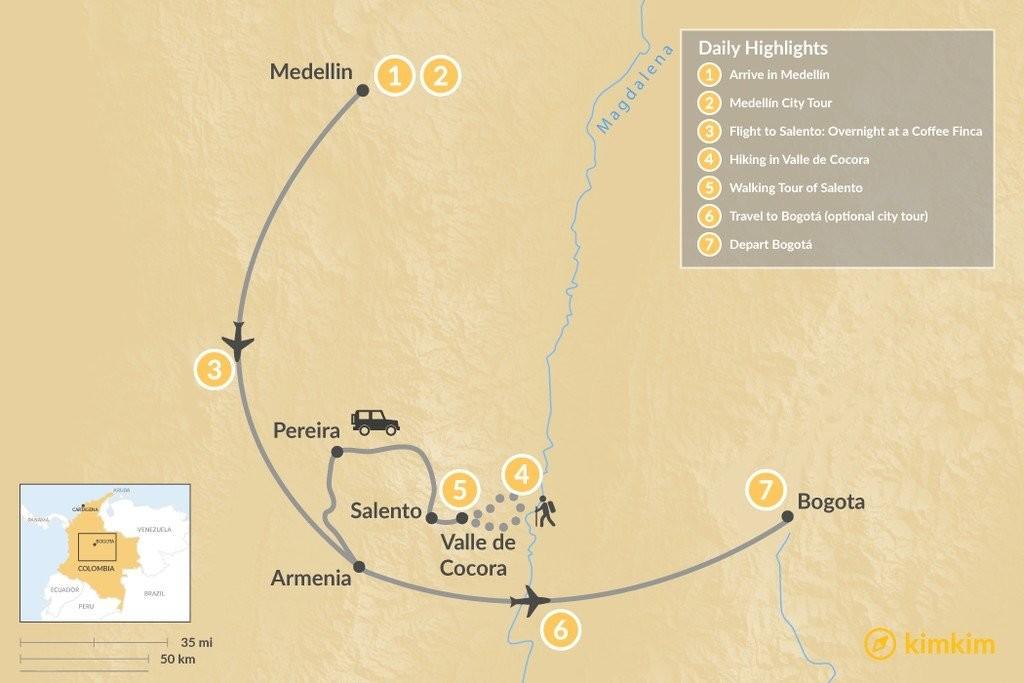 Map of Medellín, Bogotá and the Zona Cafetera - 7 Days