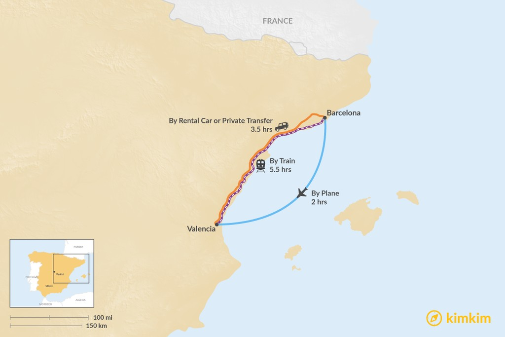 Map of How to Get from Barcelona to Valencia