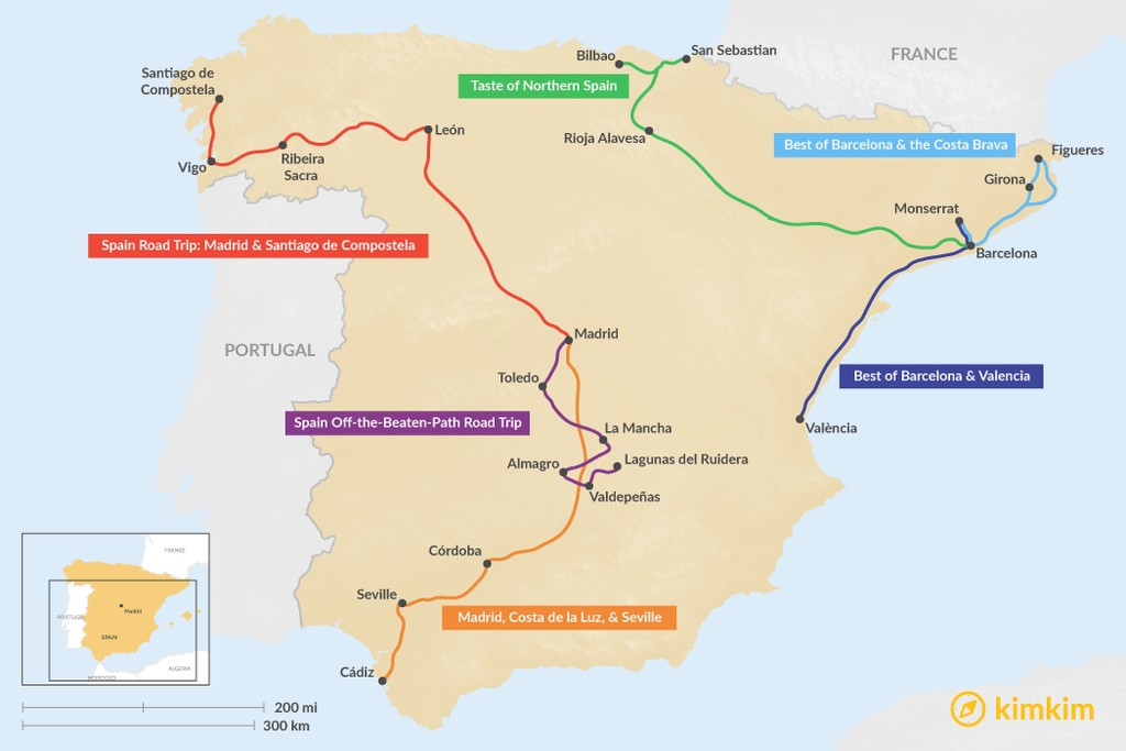 Map of 9 Days in Spain - 6 Unique Itinerary Ideas