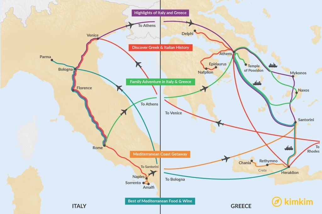 Map of Two Weeks in Italy & Greece - 5 Unique Itineraries
