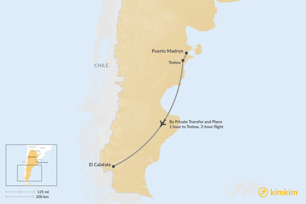 Map of How to Get from Puerto Madryn to El Calafate