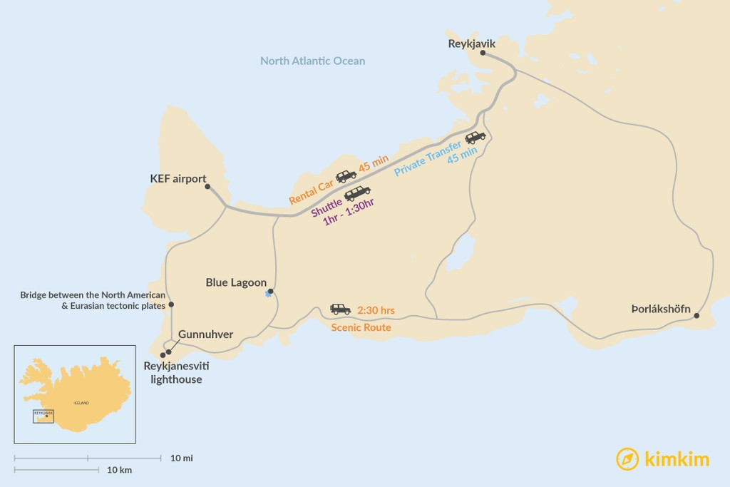Map of How to Get from Keflavik Airport (KEF) to Reykjavik