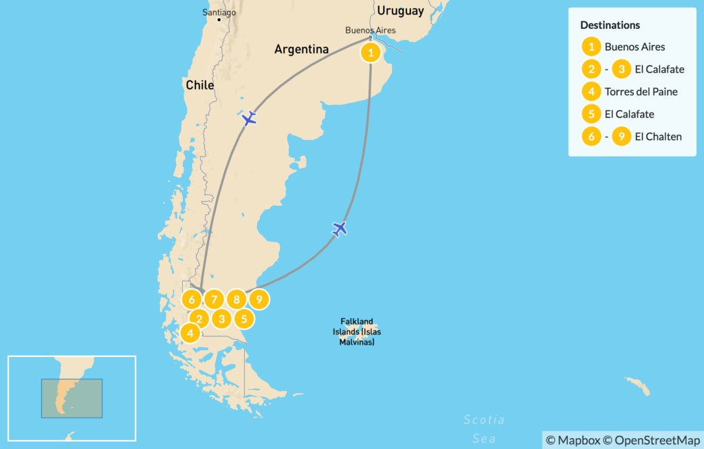 Map of Patagonia Multi-Sport Adventure - 10 Days