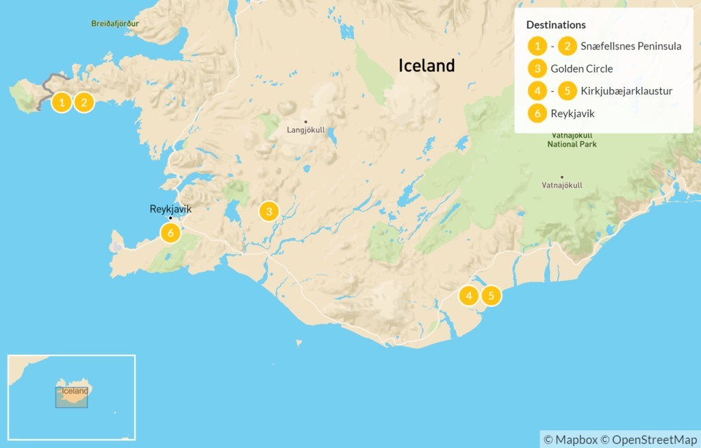 Map of Iceland Highlights: Snaefellsnes Peninsula, Golden Circle, & South Coast - 7 Days