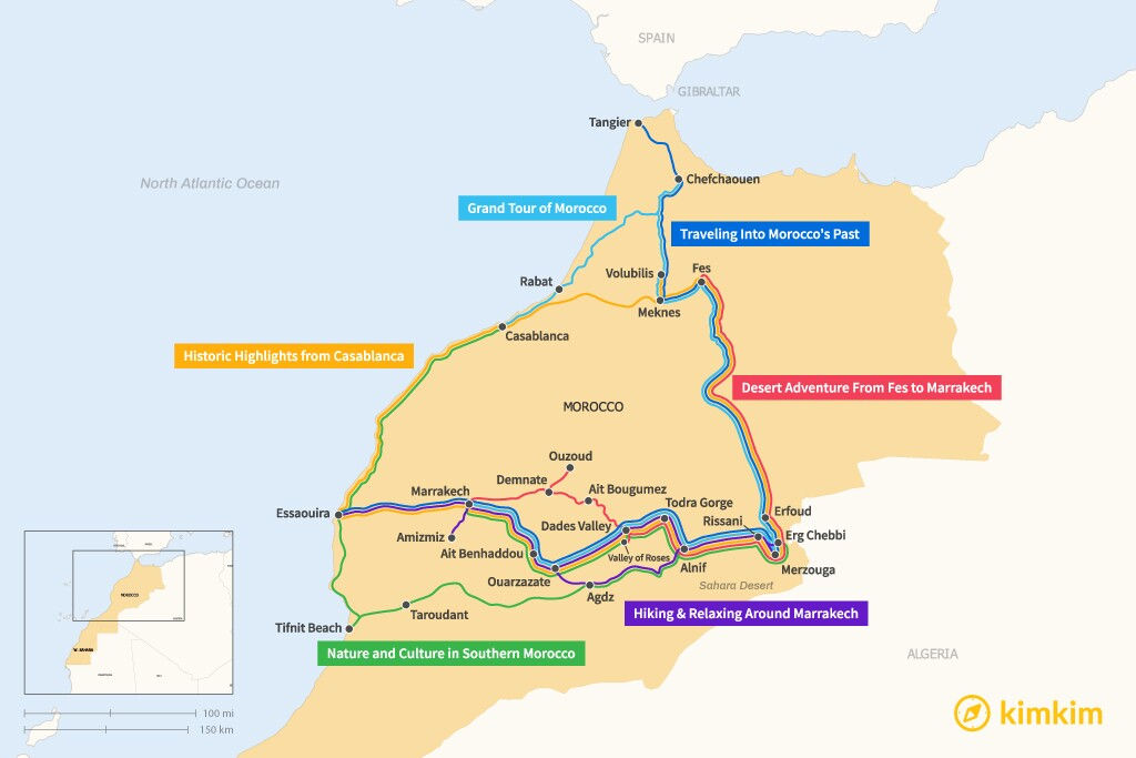 Map of 10 Days in Morocco - 6 Unique Itineraries