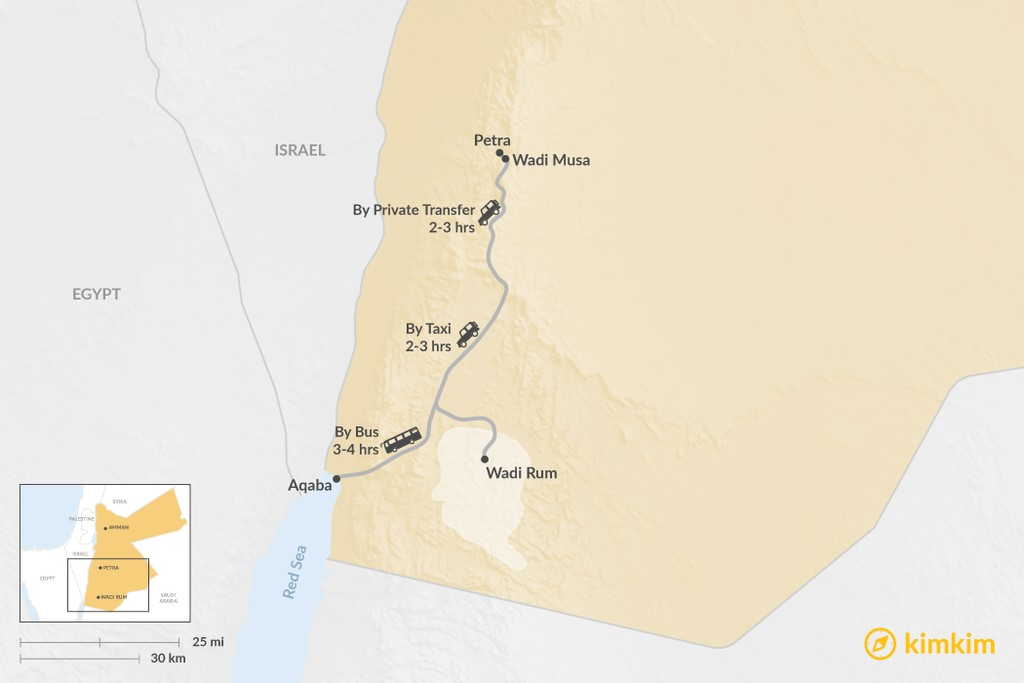 Map of How to Get from Petra to Aqaba