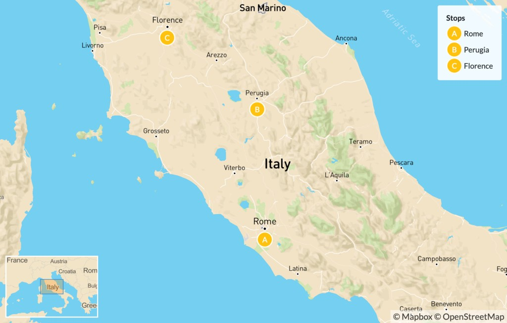 Map of Rome, Perugia, & Florence - 8 Days