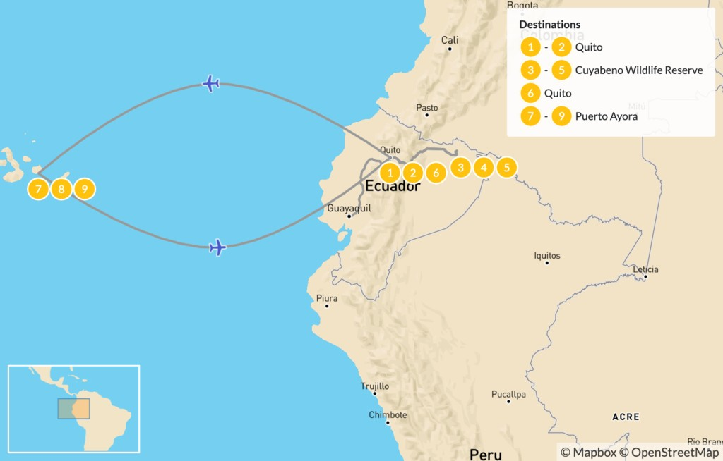 Map of Wildlife & Nature in Ecuador - Quito, Amazon, & Galapagos - 10 Days