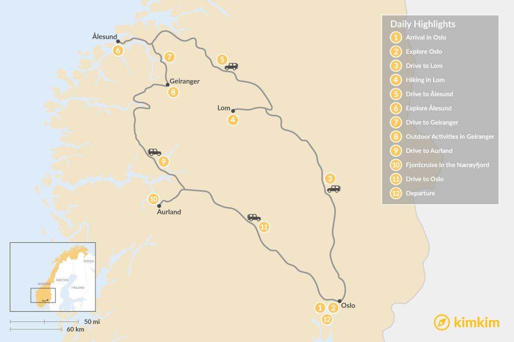 Map of Summer Road Trip: Mountains & Fjords - 12 Days