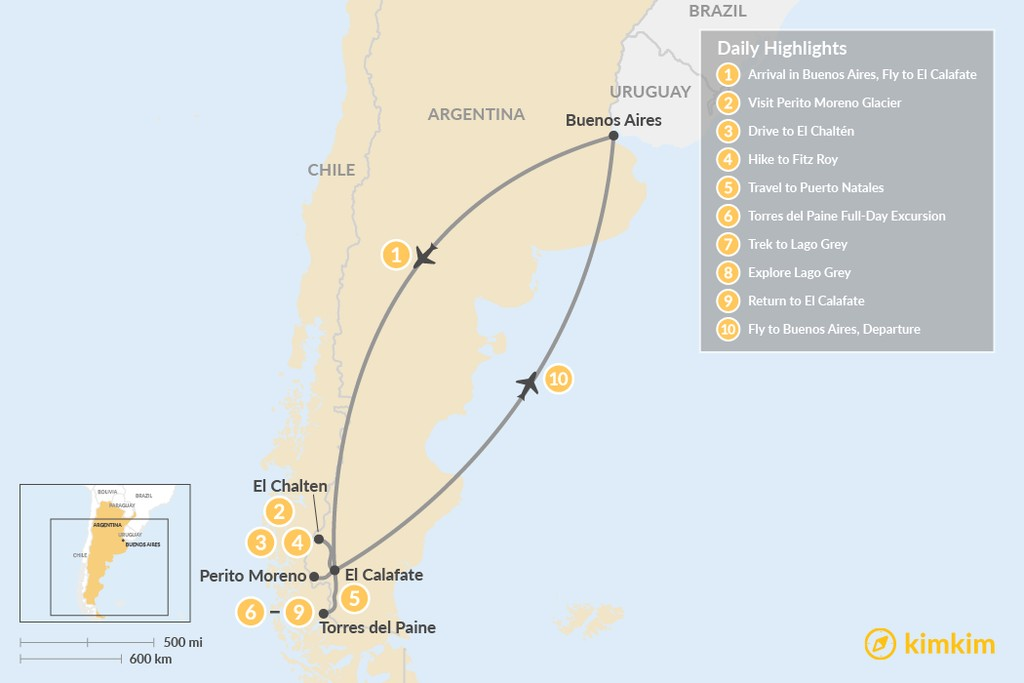 Map of Best of Southern Patagonia - 10 Days