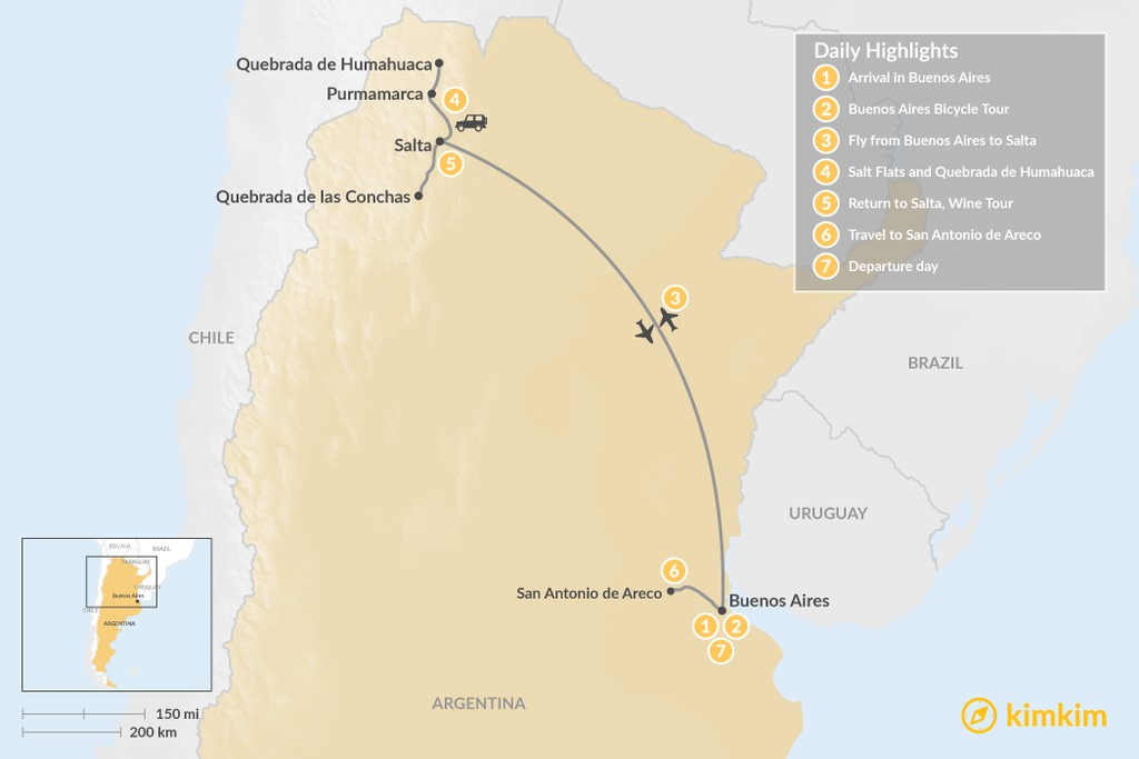 Map of Buenos Aires & Salta Adventure - 7 Days