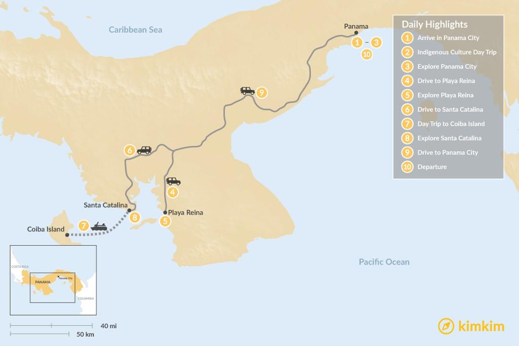 Map of Panama's Pacific Coast: Panama City, Playa Reina, & Santa Catalina - 10 Days