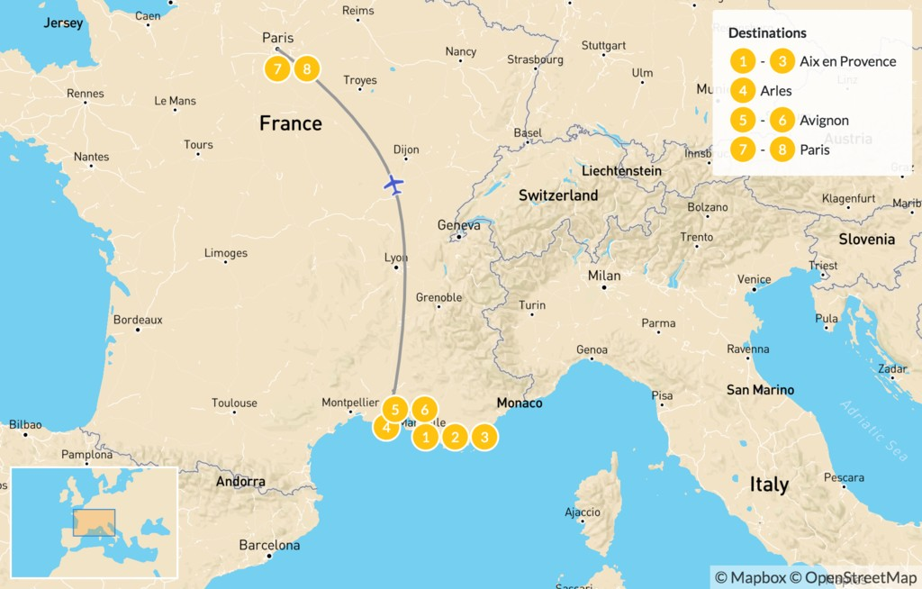 Map of Paris & Provence Road Trip - 9 Days