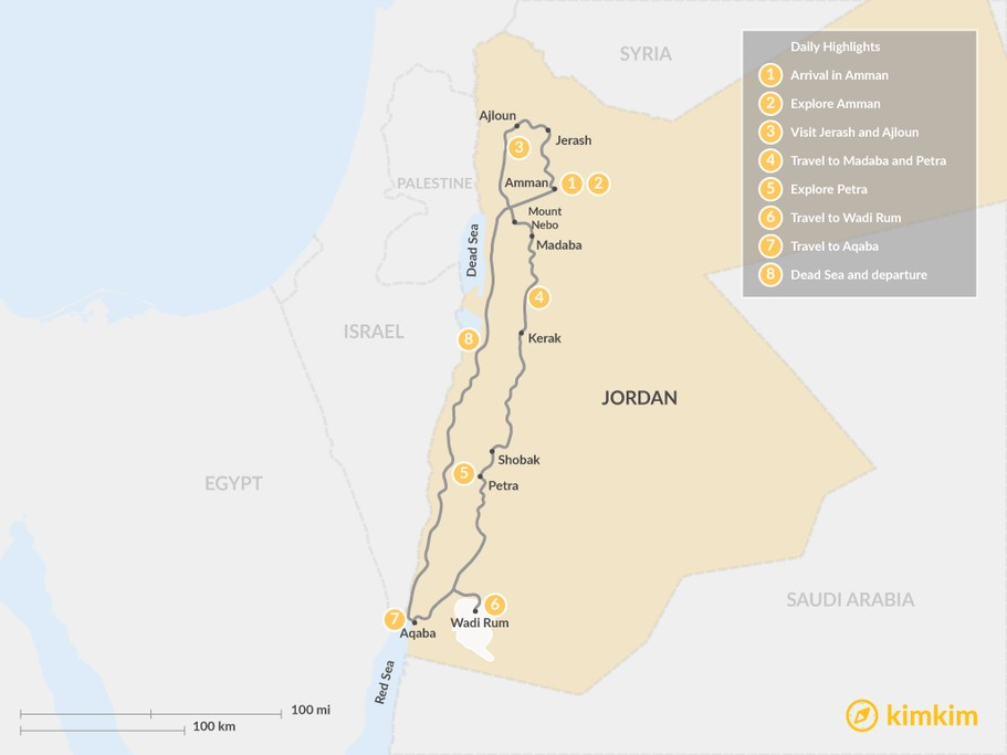 Map of Experience Jordan Tour - 8 Days