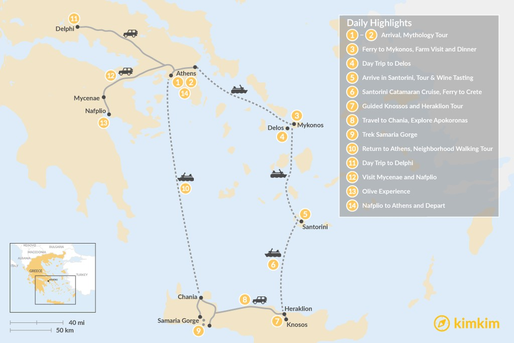 Map of Greek Panorama: Athens, the Cyclades, and Crete - 14 Days