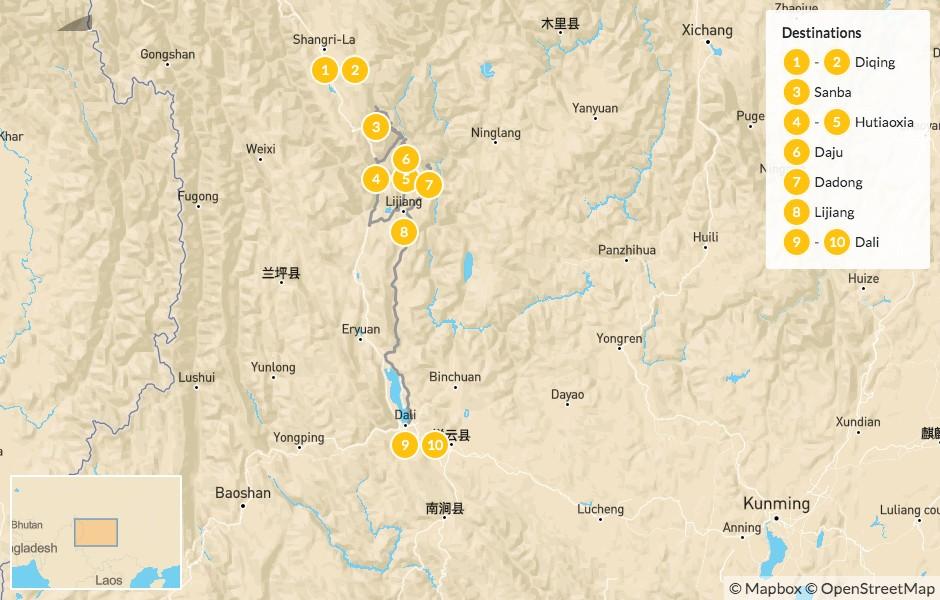Map of Bike Tour of Southwest China: Shangri-la, Bai Shui Tai, Lijiang, Dali & More - 11 Days