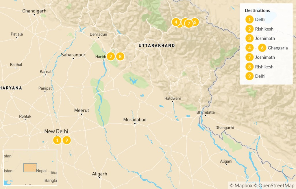 Map of Himalayan Valley of Flowers Trek - 10 Days