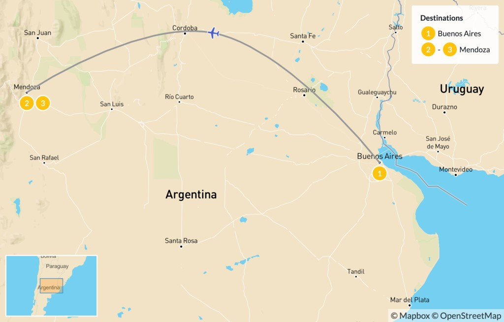 Map of Buenos Aires & Mendoza - 4 Days