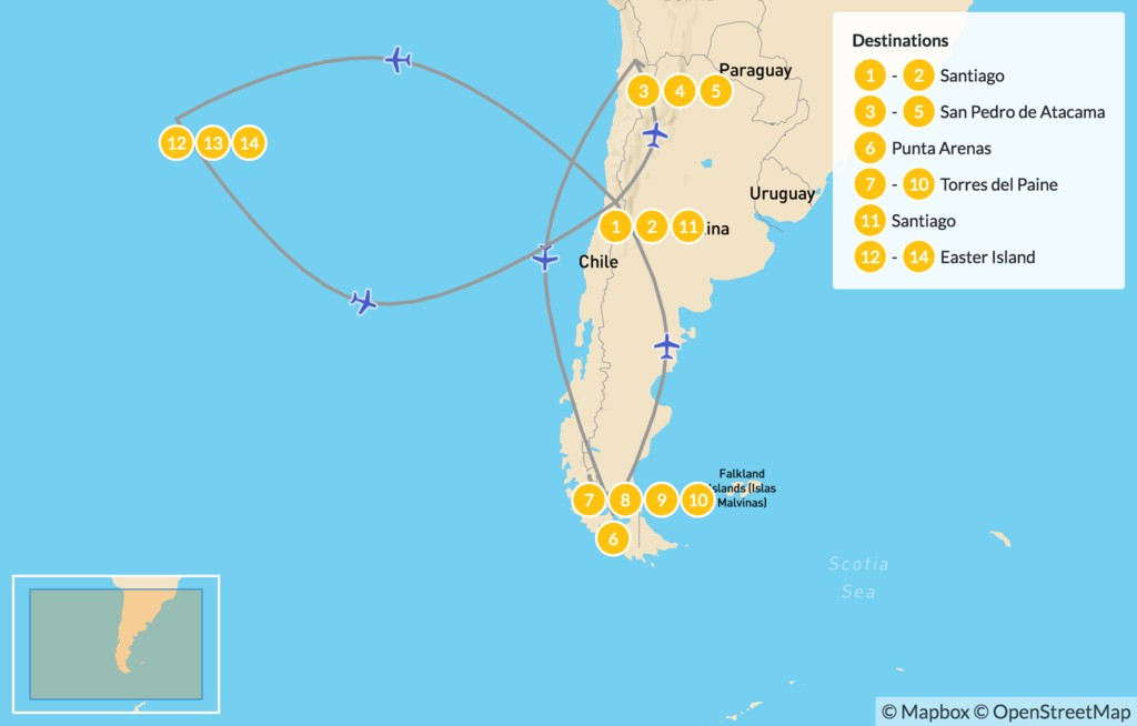 Map of Chile Grand Tour - 15 Days