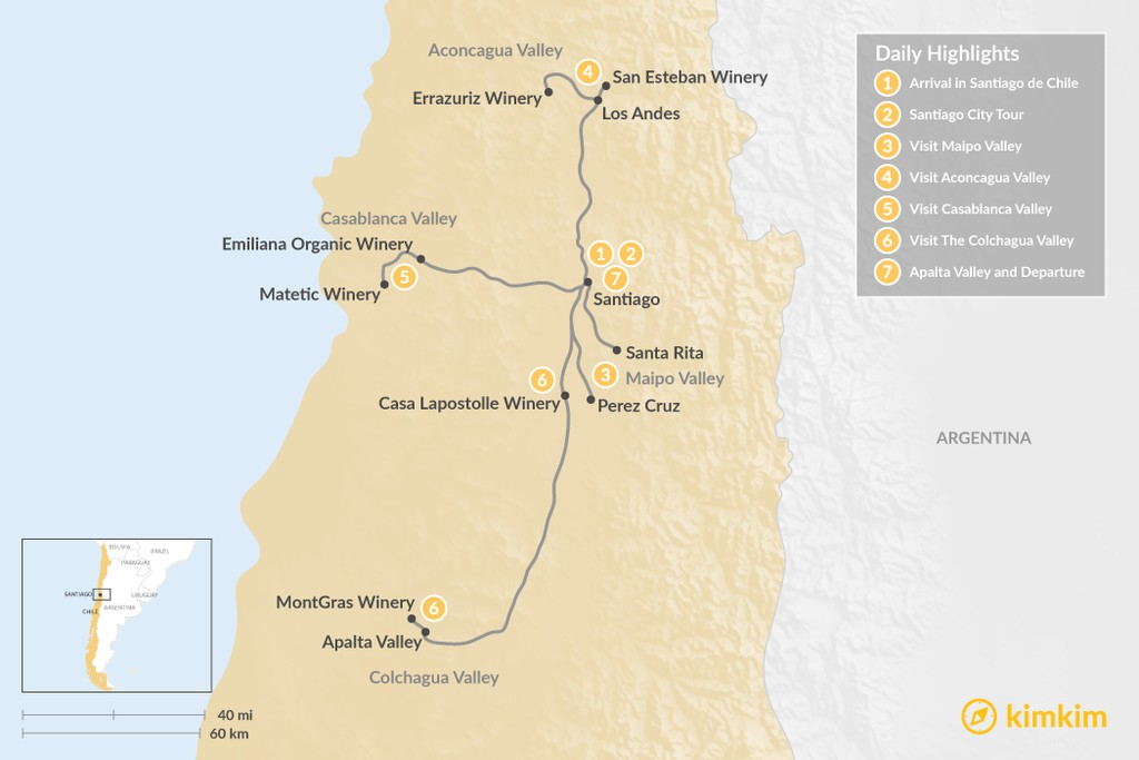 Map of Chile's Famous Wine Valleys - 7 Days
