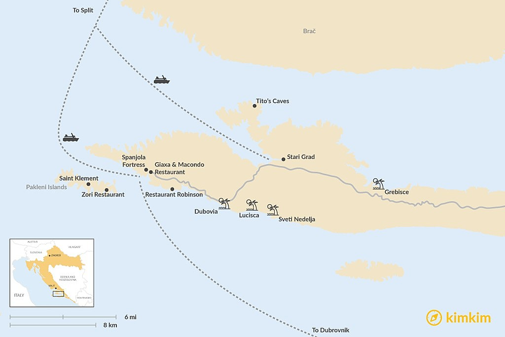 Map of Unique Ways to Experience the Island of Hvar