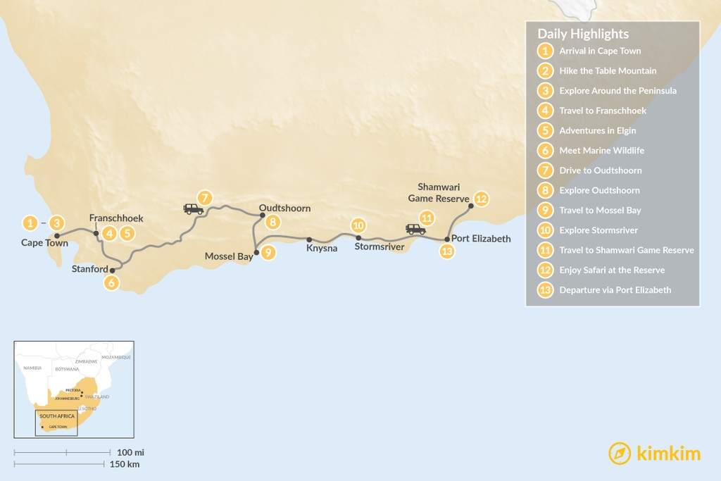 Map of South Africa Family Adventure: Cape Town, Winelands, Garden Route, Safari, & More - 13 Days